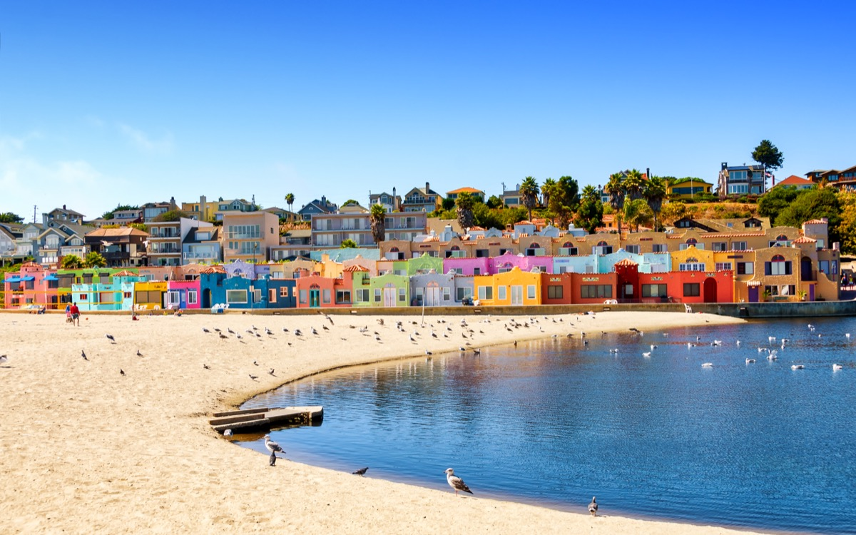 View of picturesque colorful seaside village in Capitola, California