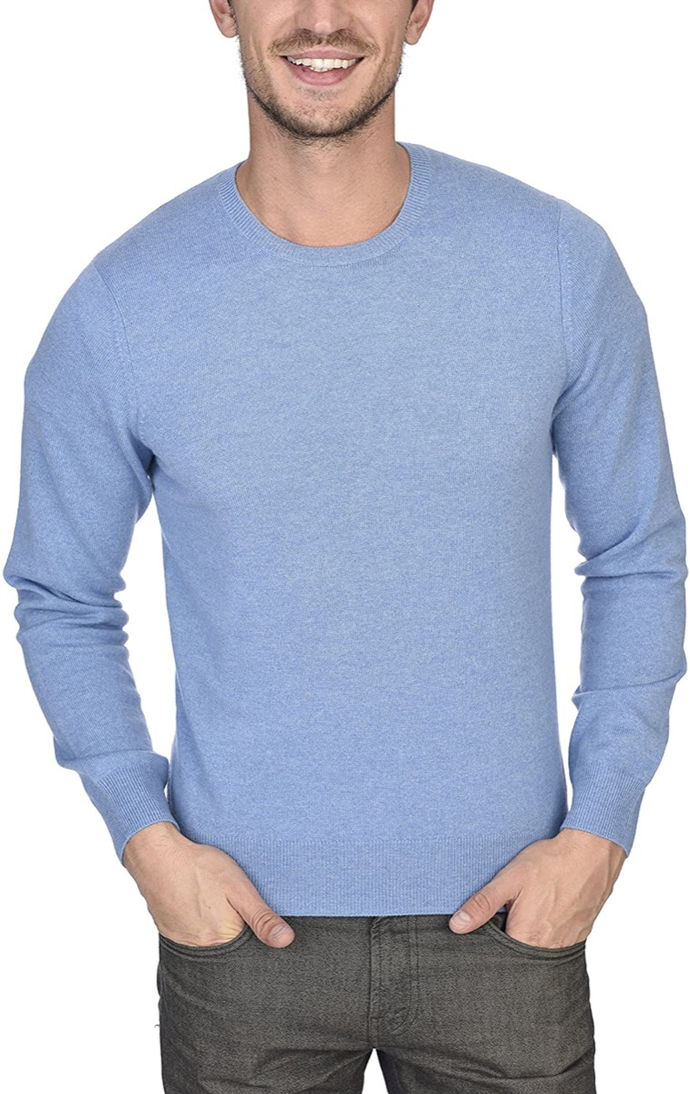 man in blue cashmere sweater