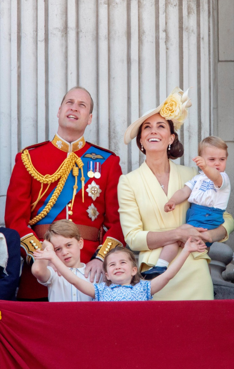 Prince William, Princess Kate, Prince George, Princess Charlotte and Prince Louis at the balcony of Buckingham Palace in London, on June 08, 2019, after attending Trooping the Colour at the Horse Guards Parade, the Queens birthday parade