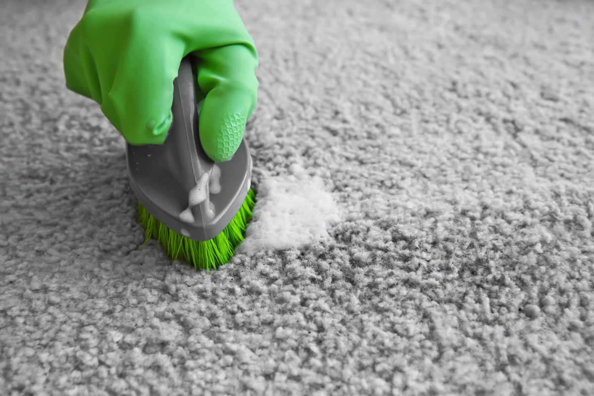 Spot cleaning carpet with scrub