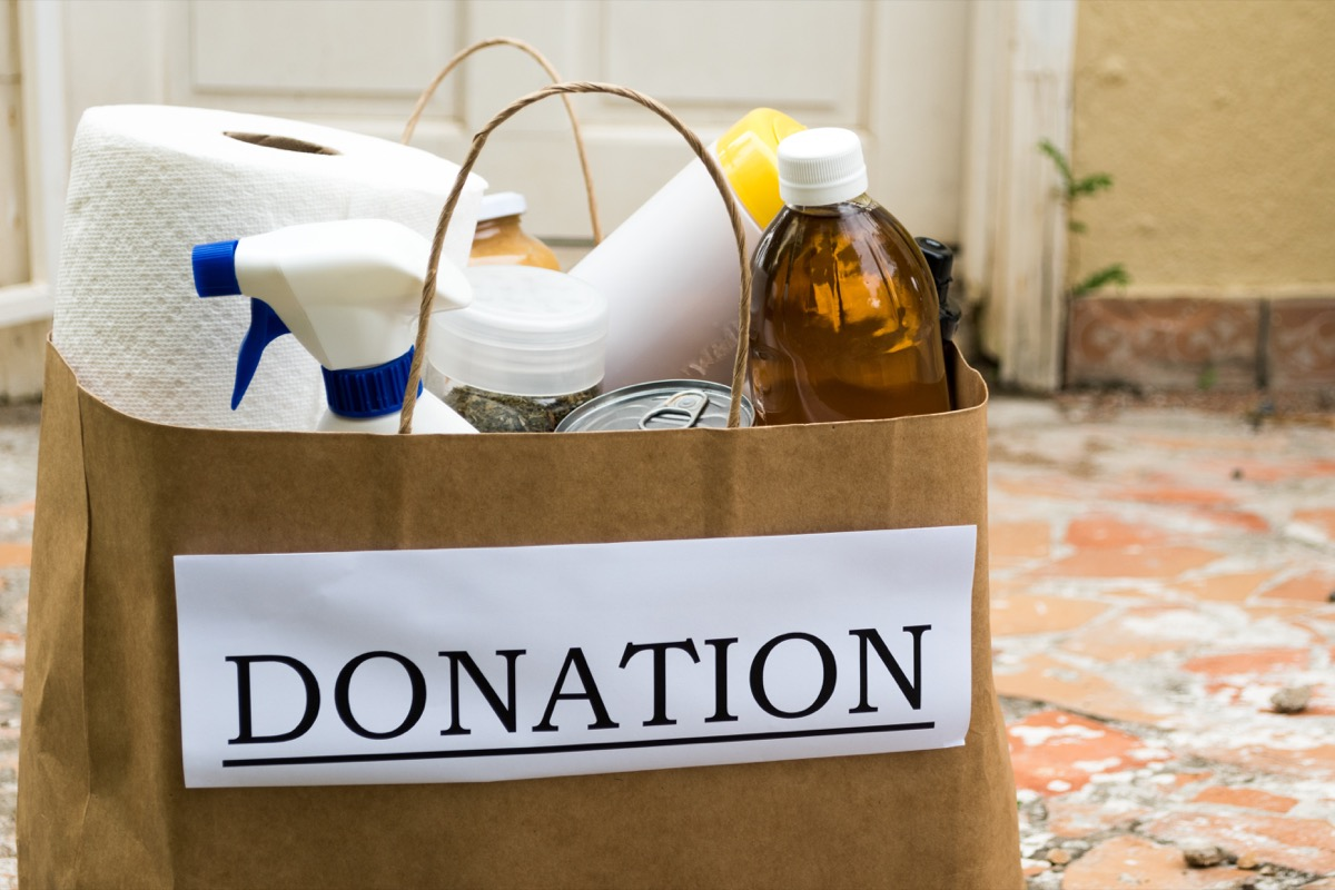 donation bag of cleaning supplies