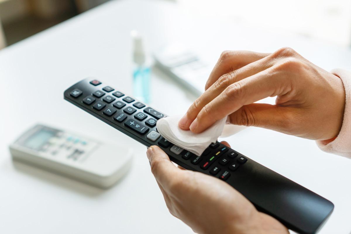 Wiping down clicker (remote control)