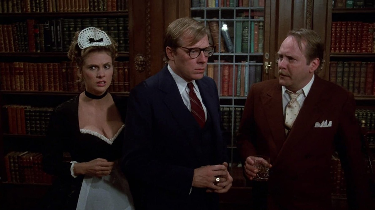 Colleen Camp, Michael McKean, and Martin Mull in Clue