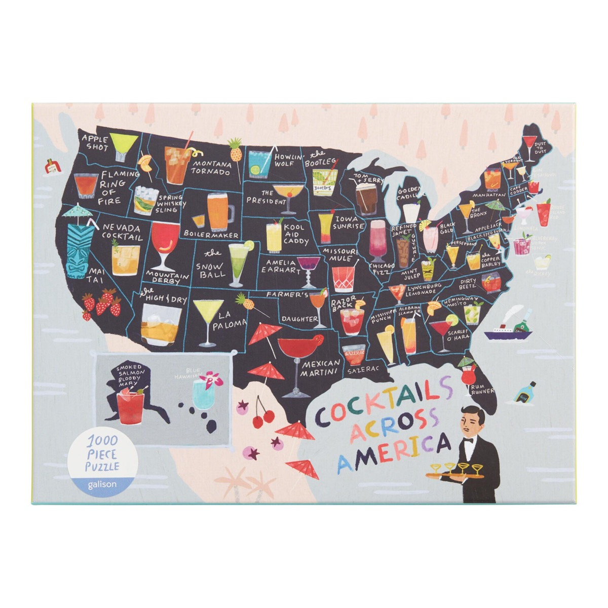 map of the united states with cocktails on it puzzle