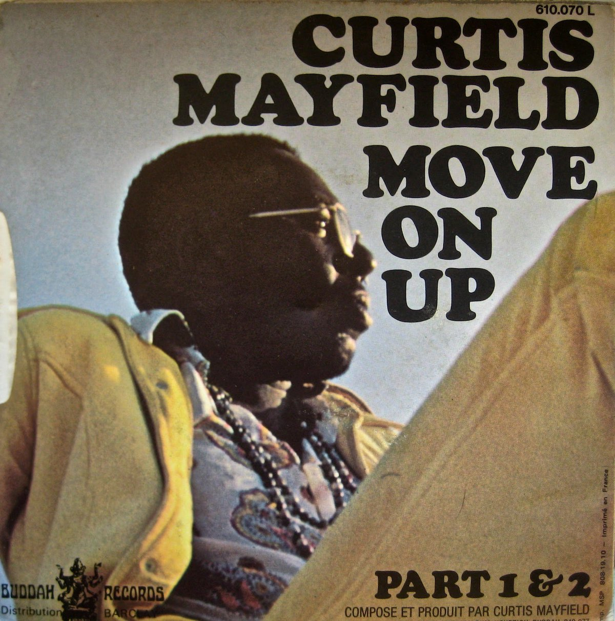 """curtis mayfield album cover for """"move on up"""""""