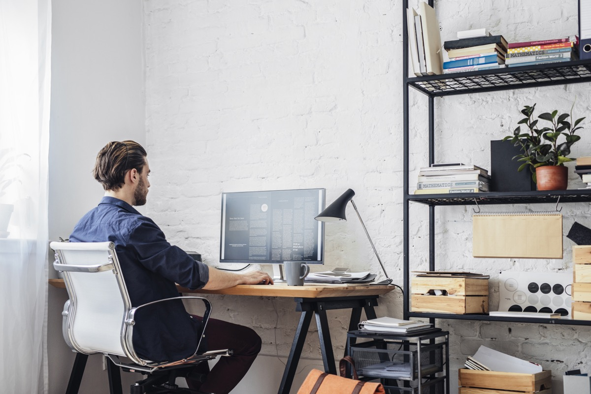 Man working at home desk