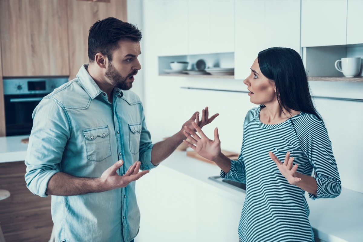 Couple having an argument in the kitchen