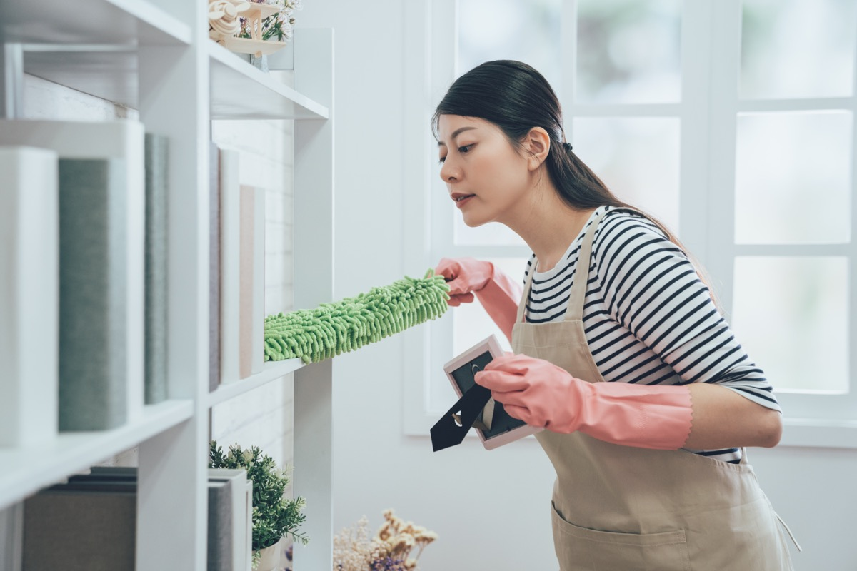 housekeeper in apron dusting the bookshelf by feather duster taking up the picture frame carefully cleaning in living room at home. young wife in rubber gloves doing housework.