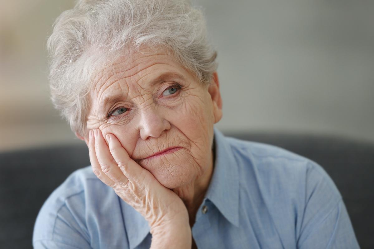 senior woman looking apathetic