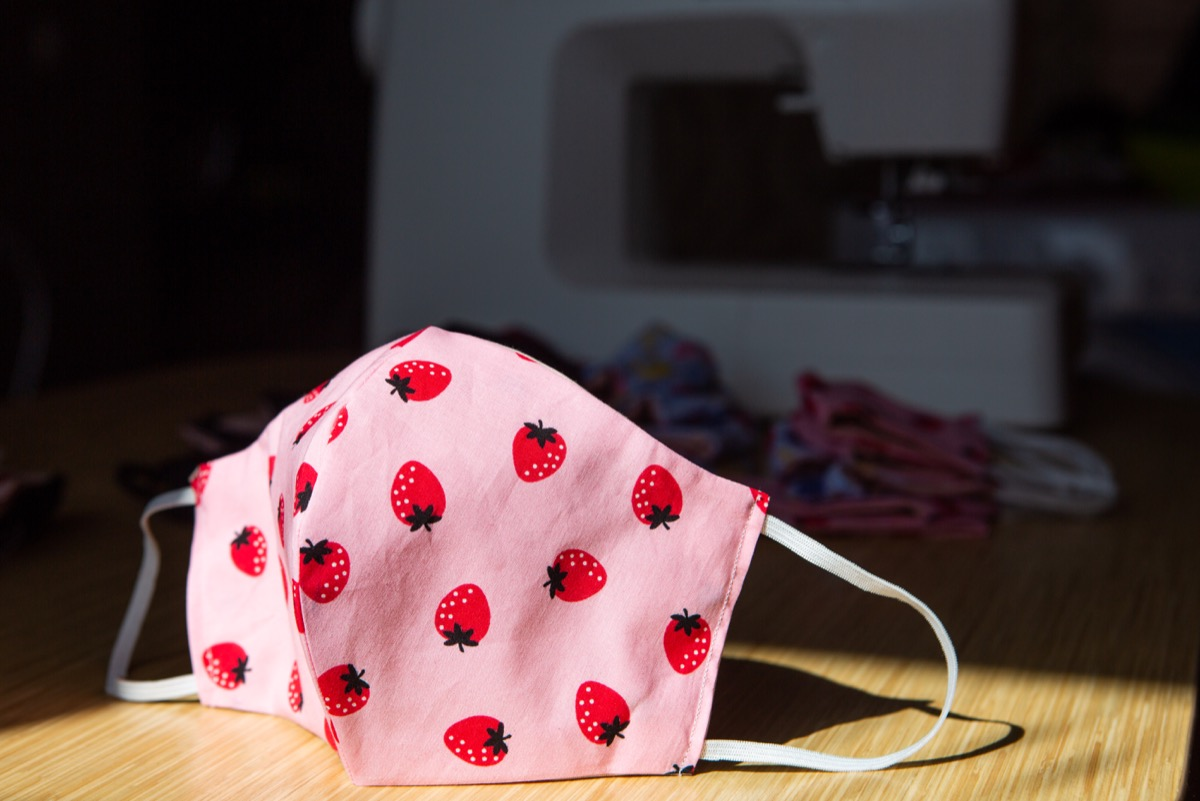 Fabric mask on the background of a sewing machine