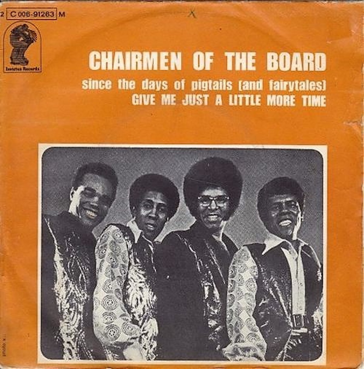 """album cover for """"Give Me Just a Little More Time,"""" the debut single for Chairmen of the Board"""
