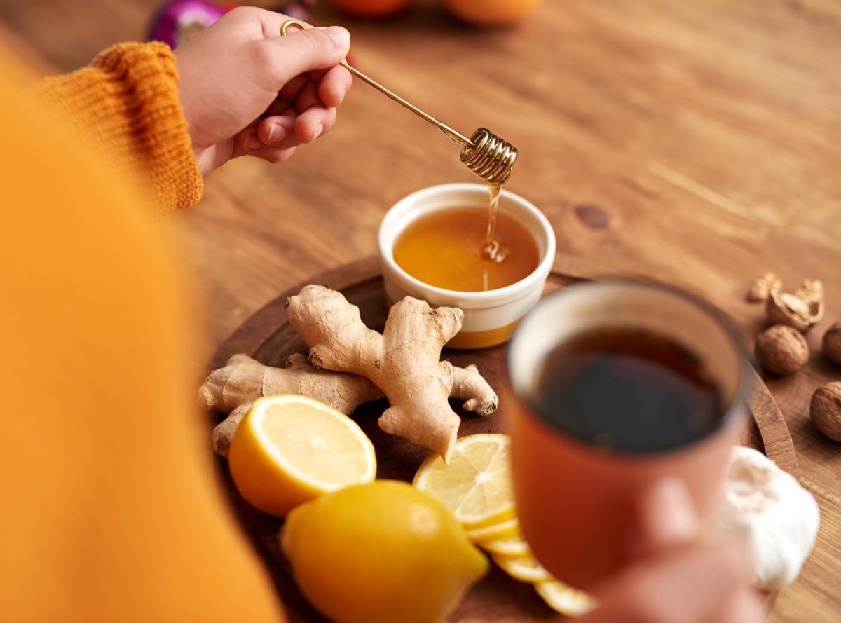 Honey tea lemon ginger