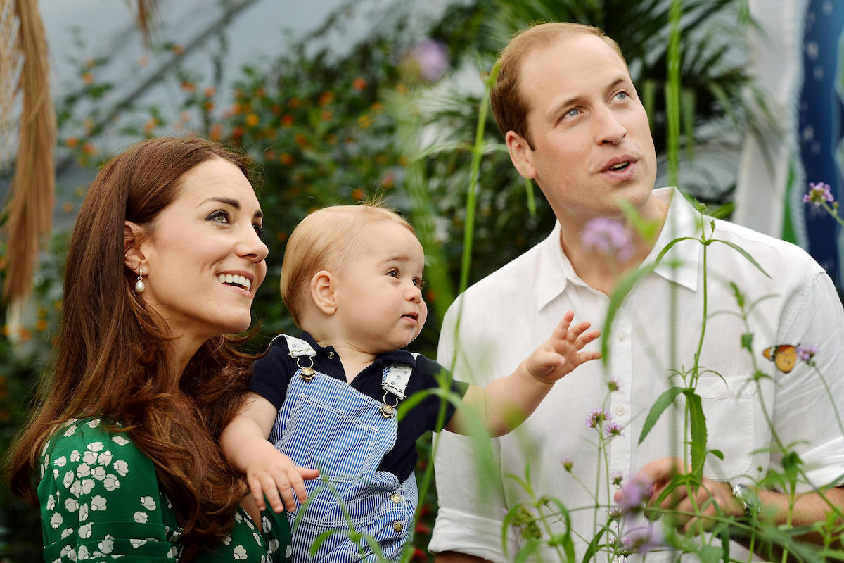 Kate Middleton and Prince William celebrate Prince George's first birthday in 2014 during a visit to the Sensational Butterflies exhibition at the Natural History Museum, London.