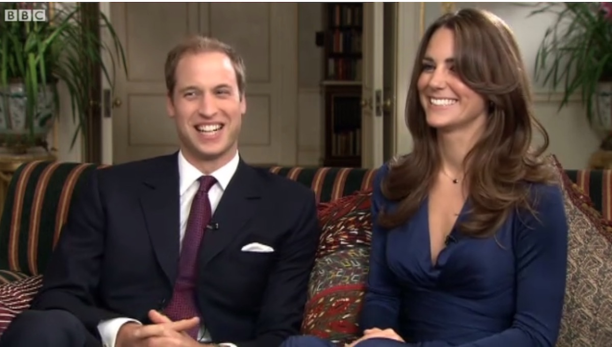 William and Kate smiling during their first interview together with the BBC in 2010