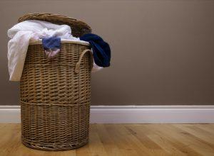 laundry basket with dark background