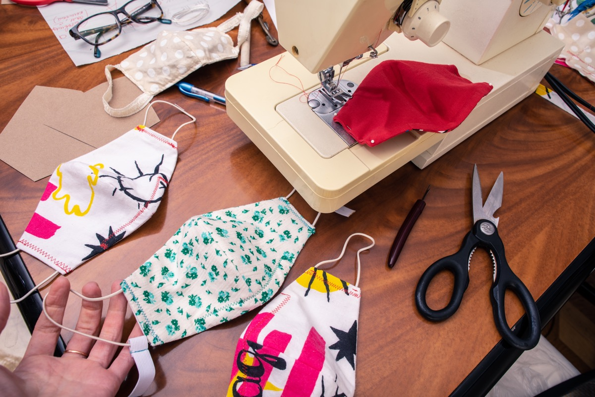 making fabric face masks with sewing machine