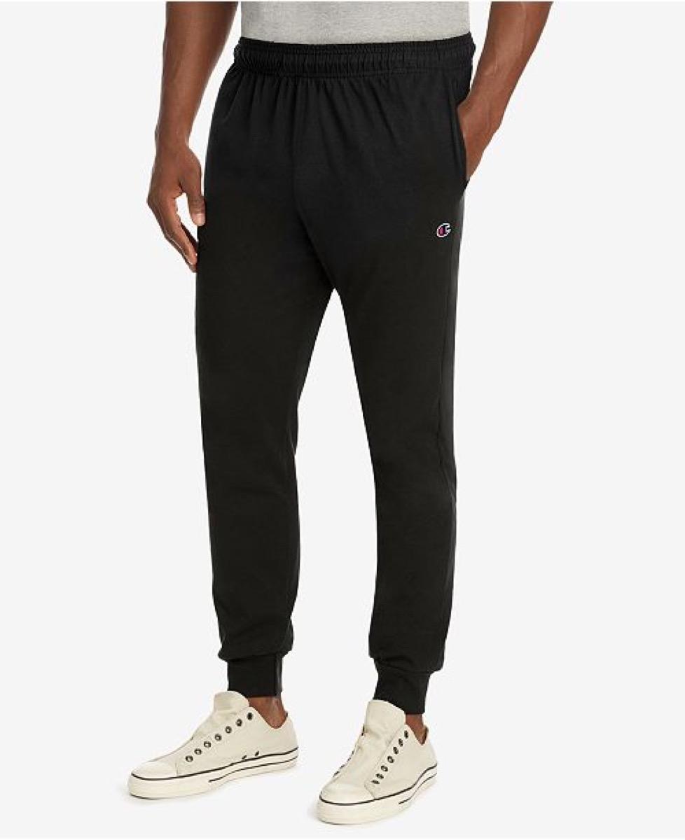 man in black jogging pants