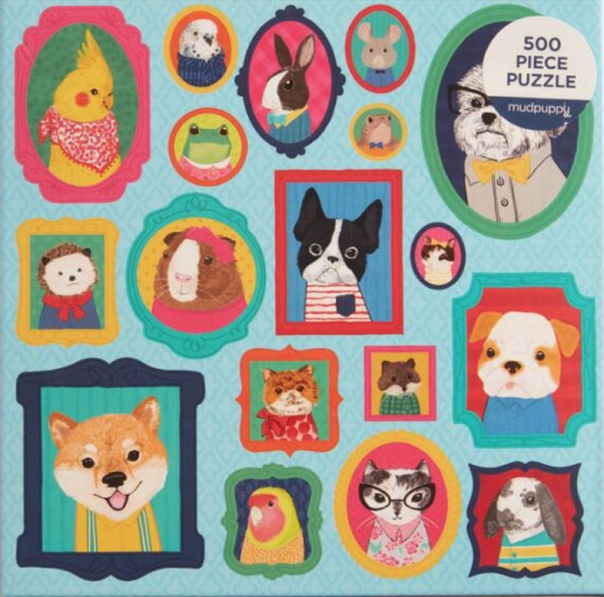 puzzle with pet portraits in frames