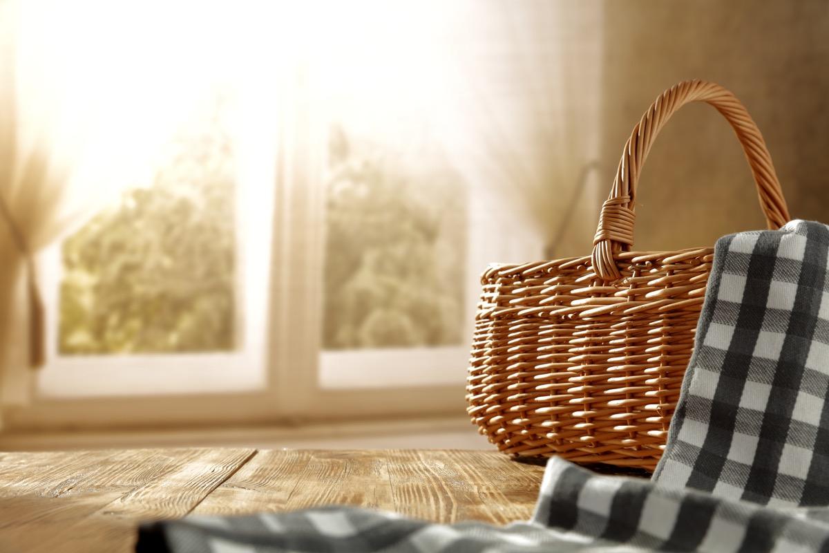 picnic basket indoors