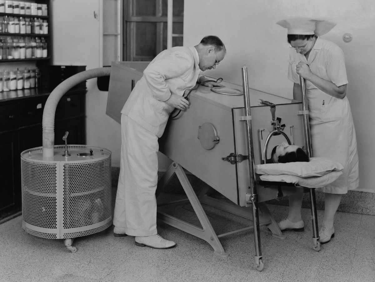 Polio patient in iron lung
