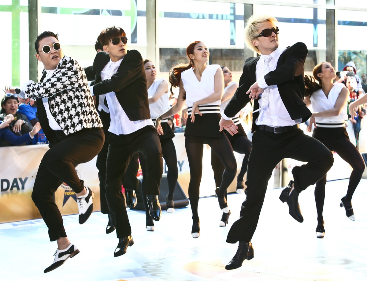 Korean rapper Psy performs on the Today Show at Rockefeller Plaza