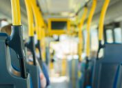closeup of aisle of public bus