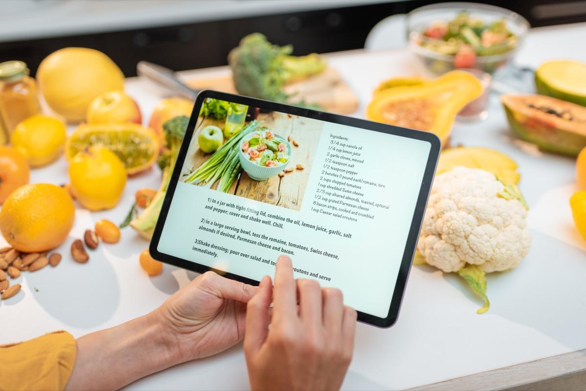 Digital recipes on tablet