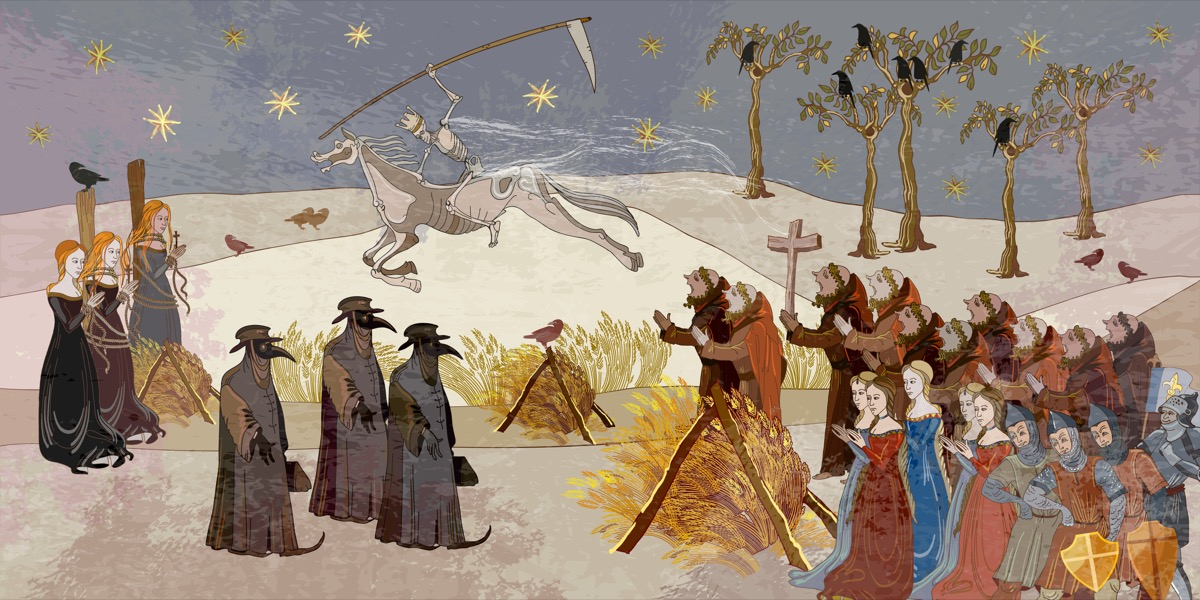 illustration of the black death epidemic with plague doctors and women burned at the stake