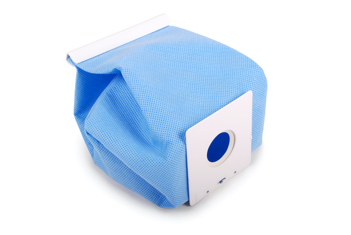 blue vacuum cleaner bag on white background