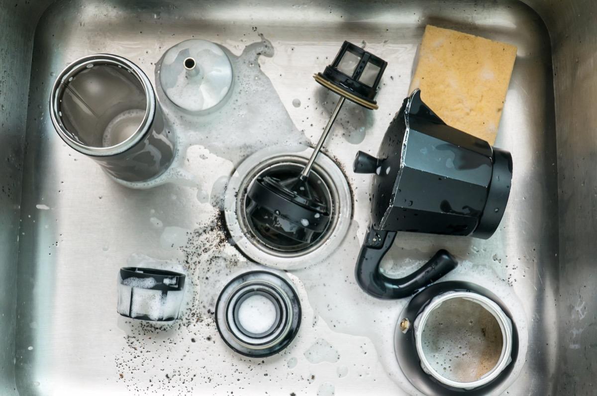 Coffee maker in sink