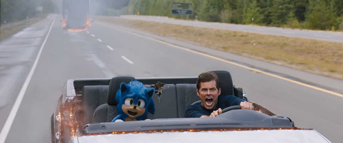Sonic and James Marsden in Sonic the Hedgehog