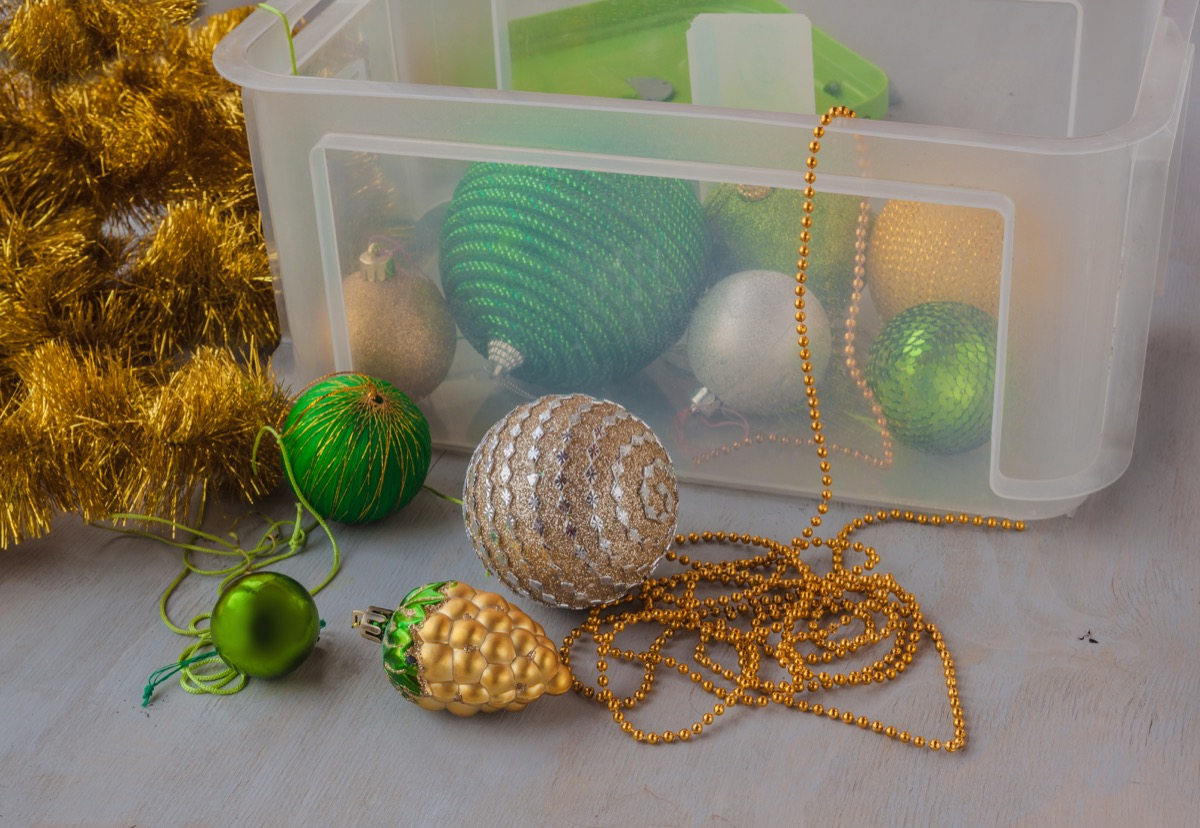 clear box of Christmas decorations