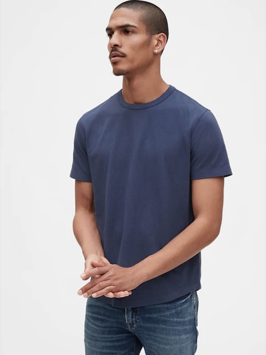 young man in blue t-shirt