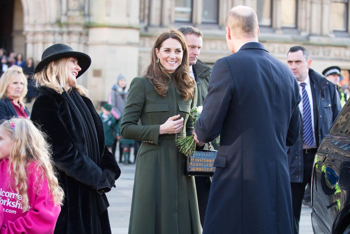 Prince William gives Kate Middleton flowers in Bradford in Jan 2020