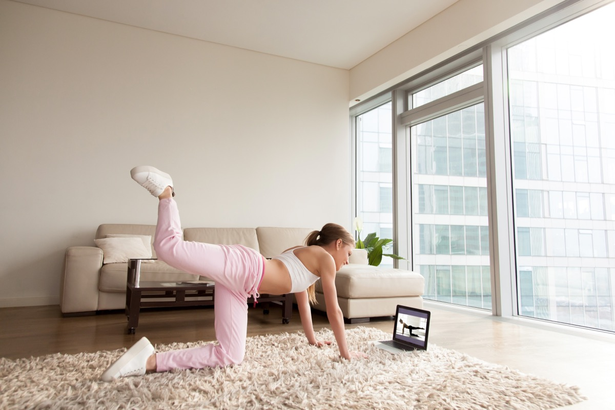 Woman doing online workout