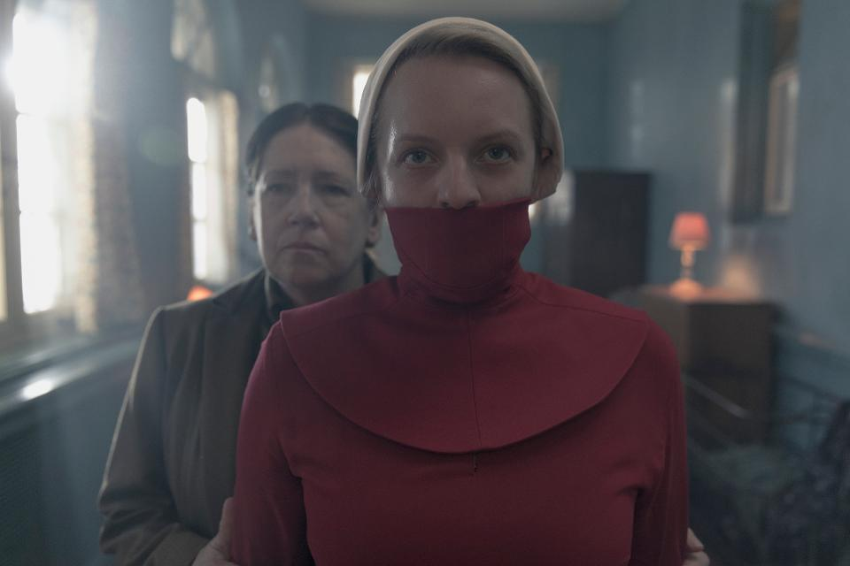 ann dowd and elisabeth moss on the handmaid's tale