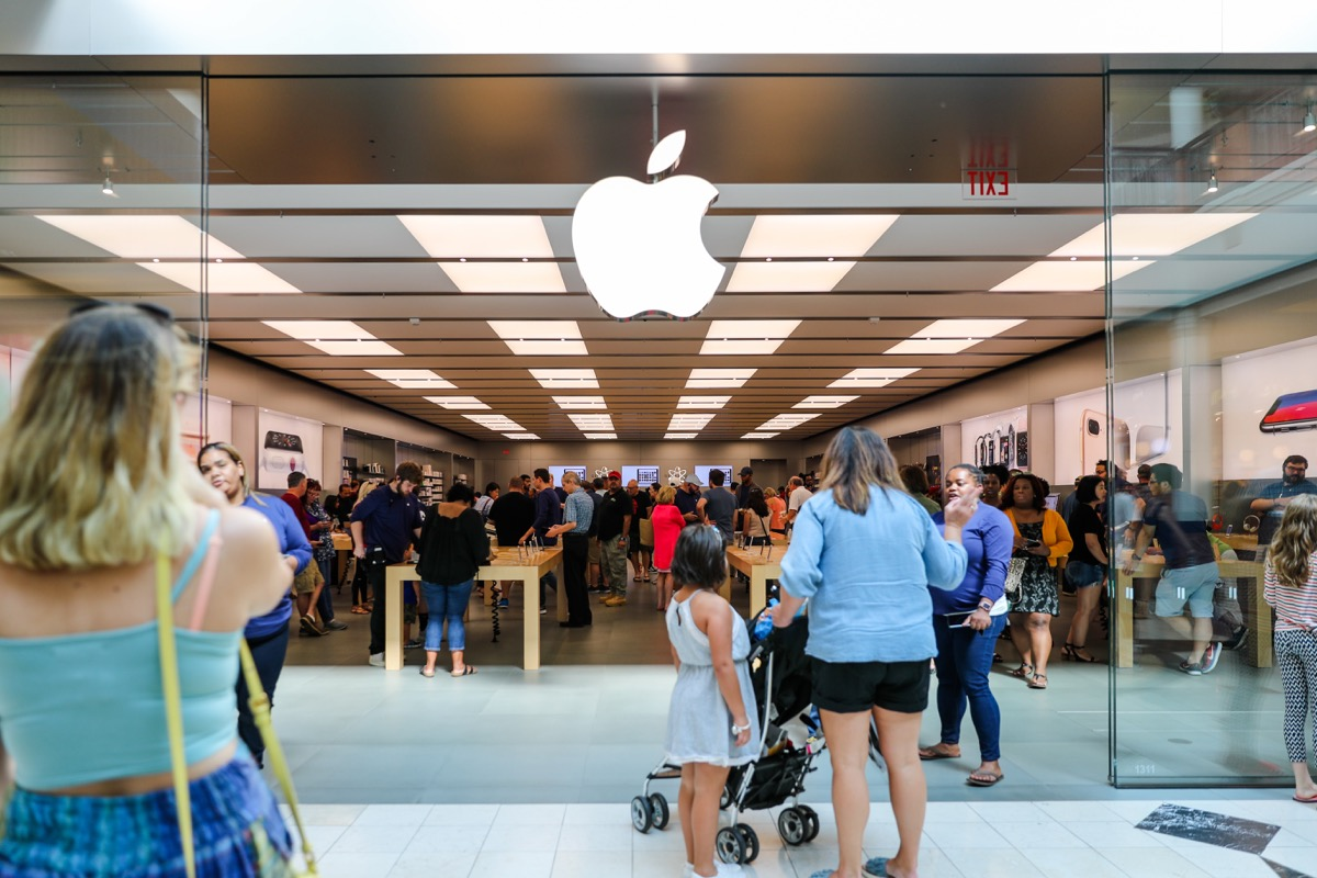 Apple store crowded with shoppers