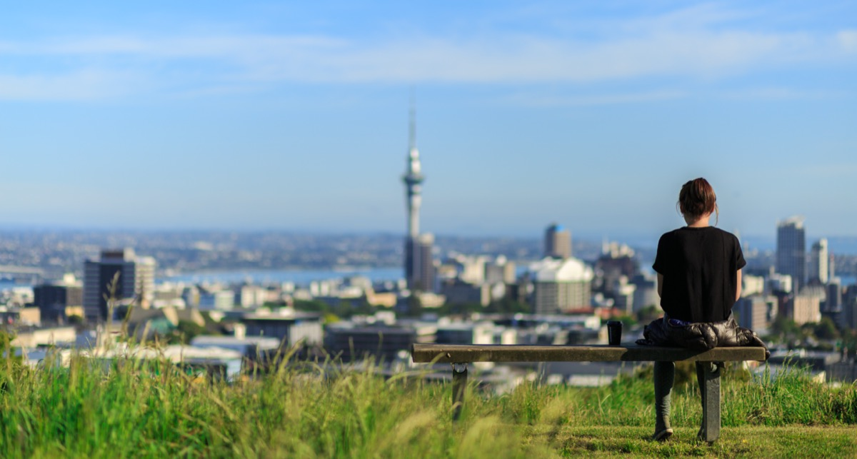 Woman looking at view of Auckland