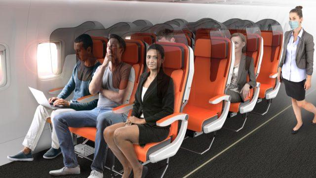 Glassafe airplane seat designed by Aviointeriors