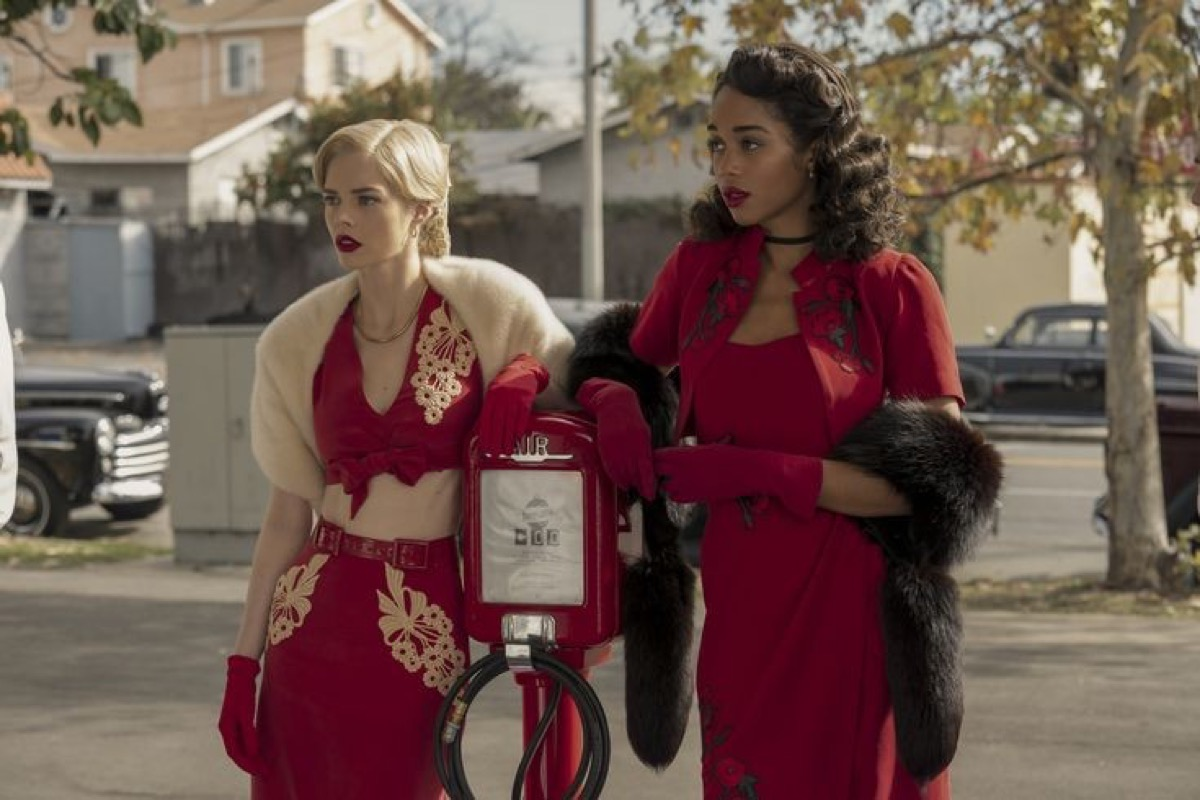 Samara Weaving and Laura Harrier in Hollywood