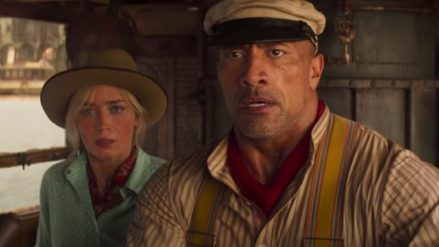 """Emily Blunt and Dwayne """"The Rock"""" Johnson in Jungle Cruise"""