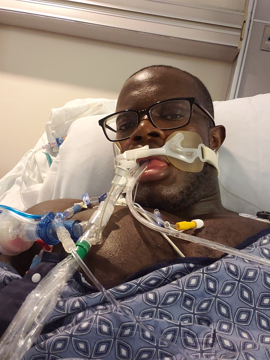 coronavirus survivor lequawn james in hospital bed while intubated