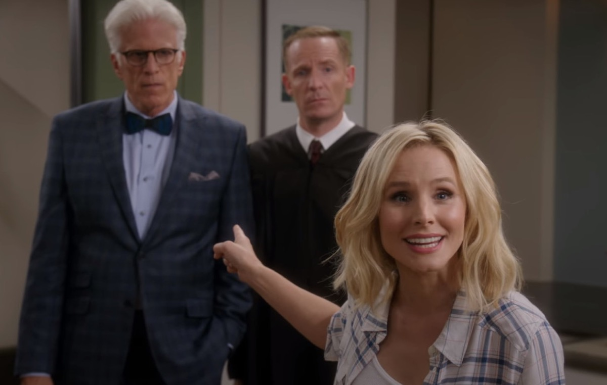 Ted Danson, Marc Evan Jackson, and Kristen Bell in The Good Place
