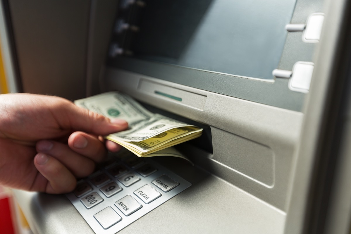 Person using bank atm