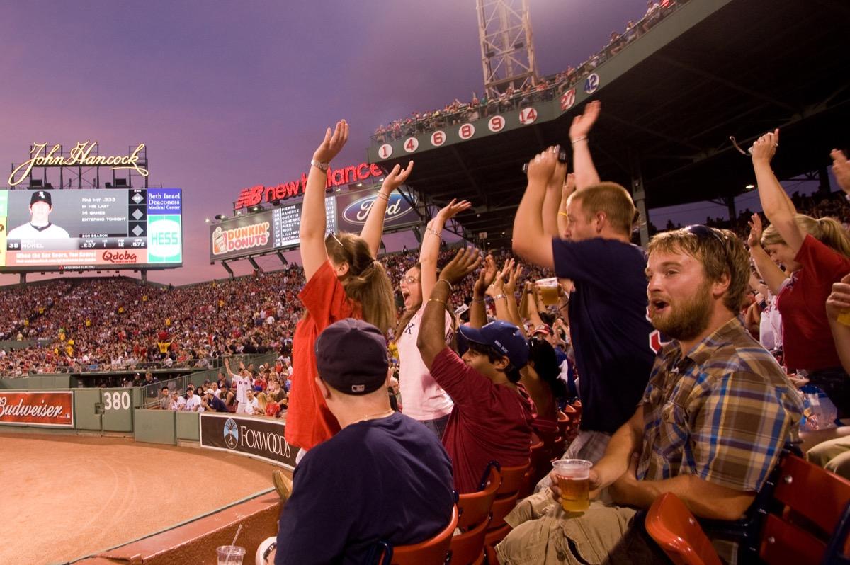 people at baseball game cheering