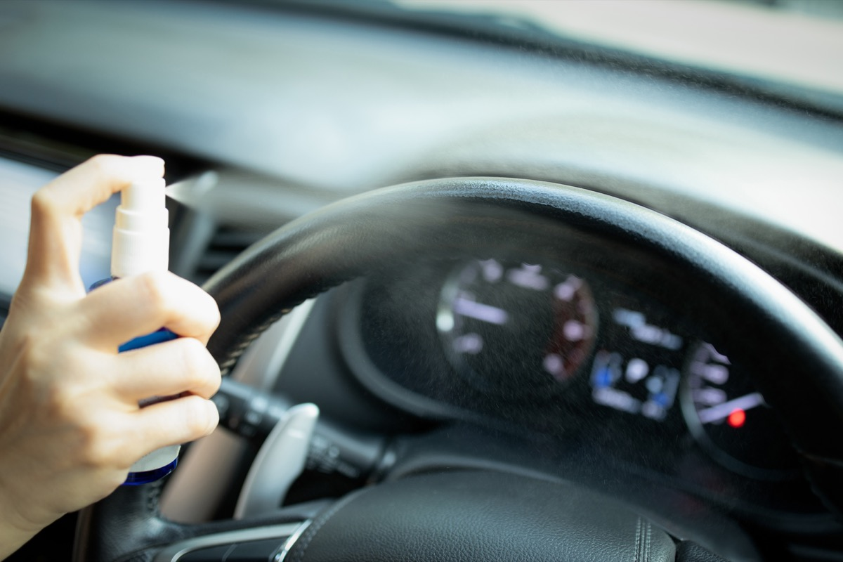 Disinfection car with sanitizing spray