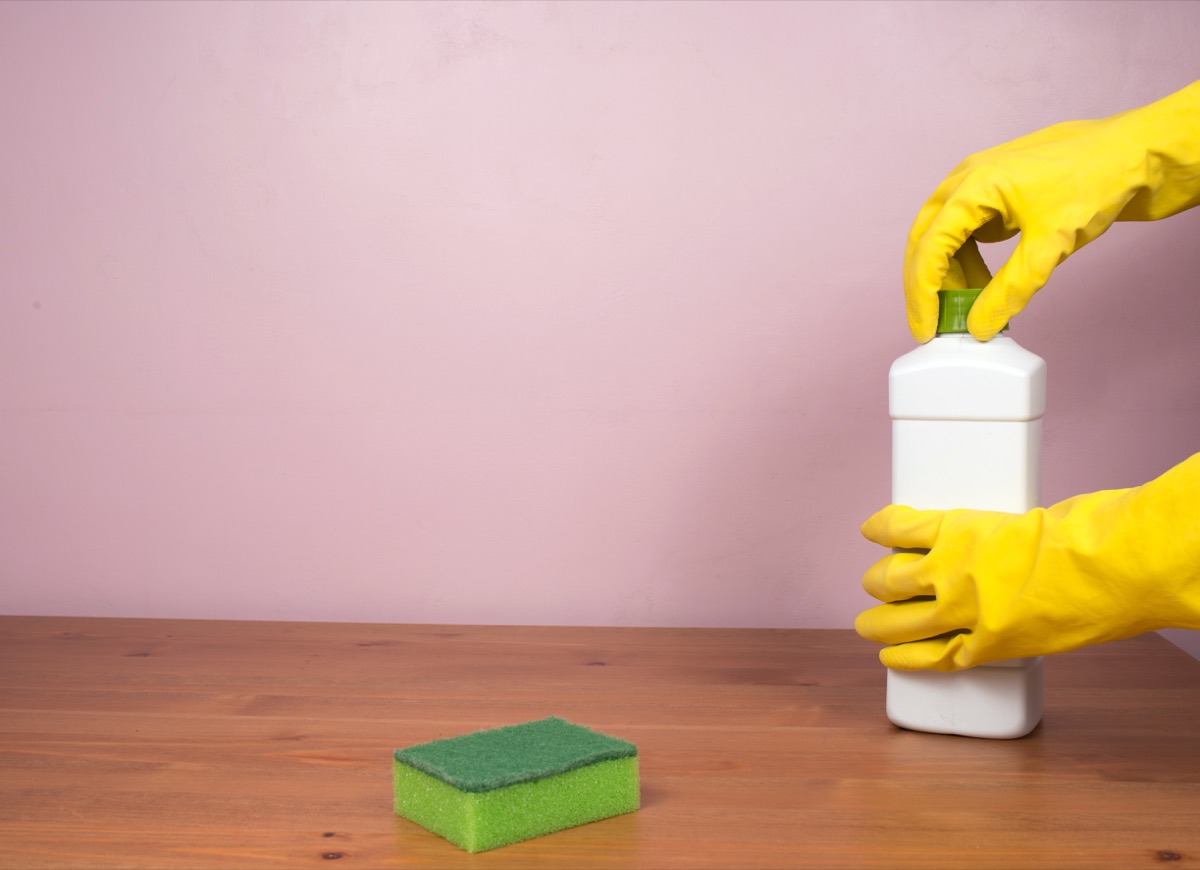 Closing bottle of disinfectant