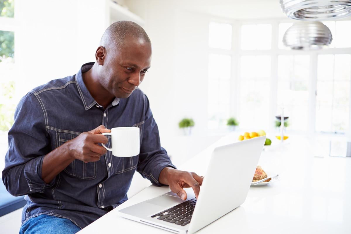 Man taking an online class