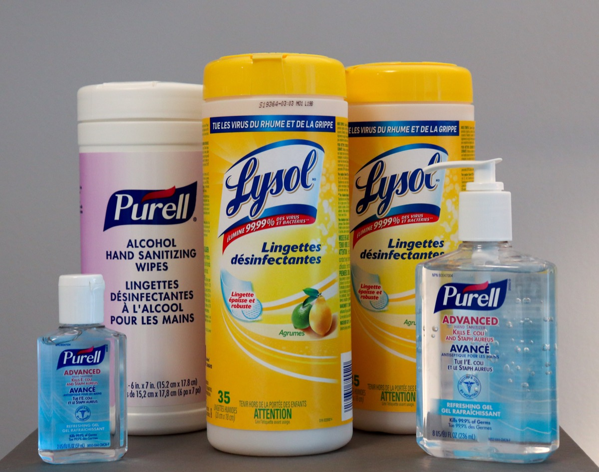 Disinfecting lysol wipe and hand sanitizer containers