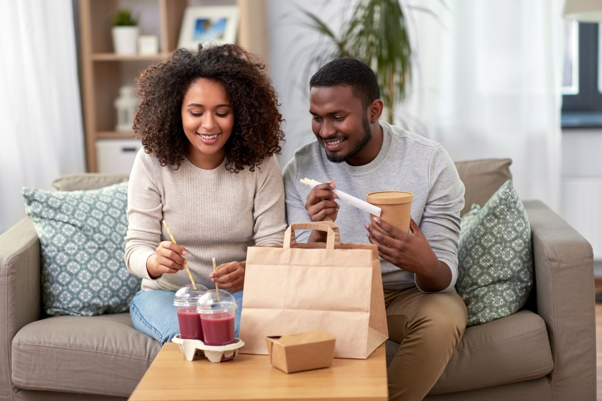 People eating delivery food